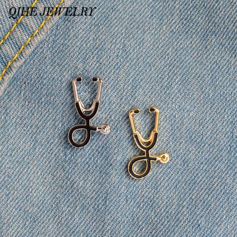 Qihe Jewelry стетоскоп Брошь контакты медсестра Jewelry ювелирные изделия медицинского доктор подарок Выпускной подарок