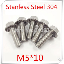 100 шт. Нержавеющая сталь 304 M5* 10 Болт с фланец