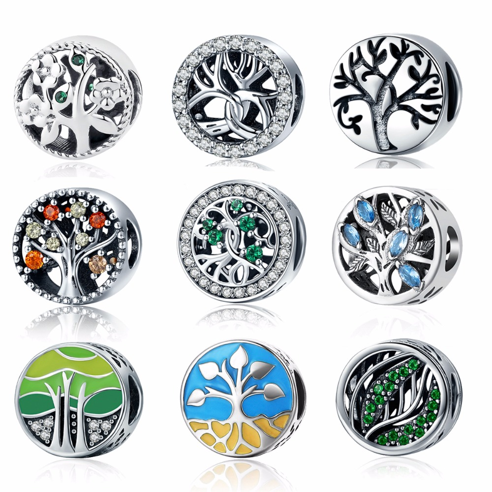 Authentic 925 Sterling Silver 11 Styles Tree of Life Season Family Tree Beads Charm fit Original PAN Charm Bracelet Jewelry цена 2017