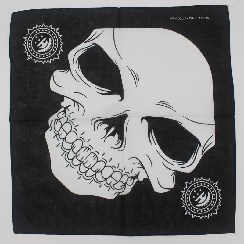 2018 New Design Fashion Hip Hop 100% Cotton Skull Bandana Square Scarf Paisley Headband Printed For Women/Men/Boys/Girls
