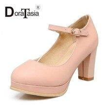 DoraTasia Big Size 33-43 Lady Women Gladiator Square Heel Mary Jane Belt Strap Pumps Round Toe Platform Pumps