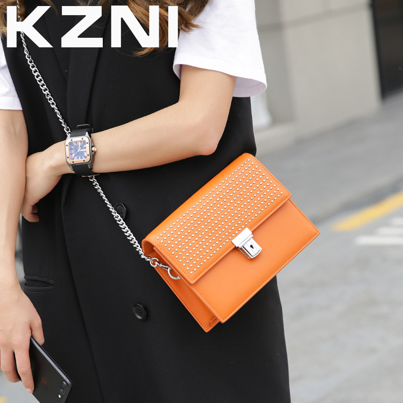 KZNI Genuine Leather Handbag Women Rivet Crossbody Chain Bag Designer Handbags Shoulder Bags for Girls Sac a Main Femme 9001 kzni genuine leather handbag women designer handbags high quality phone bag purses and handbags pochette sac a main femme 9022