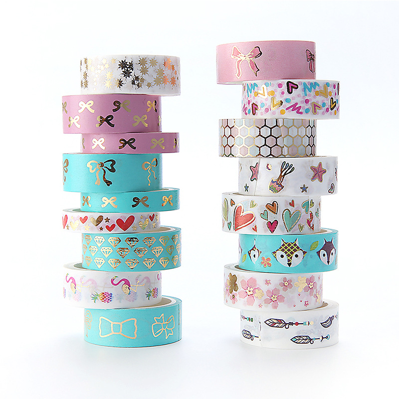15mm*10m Flamingo Foil Kawaii Washi Tape Scrapbooking Masking Tape Stickers Diary Book DIY Decoration Washitape Washy Tape 24002