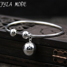 Fyla Mode Pure 925 Sterling Silver Bracelets for Women Fine Jewelry Bangles & Double Balls Charm Chain Wedding