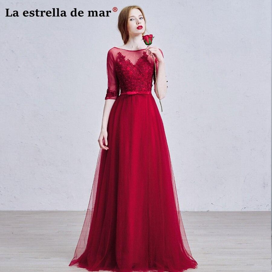 Robe demoiselle d'honneur2018 Tulle lace sleeves a Line burgundy   bridesmaid     dresses   long cheap vestidos para bodas invitados