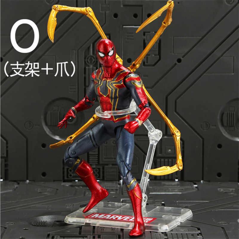 18 cm נוקמי מלחמת אינסוף ברזל עכביש קפטן אמריקאי דמות ספיידרמן שחור פנתר איש ברזל פעולה איור צעצוע מתנות