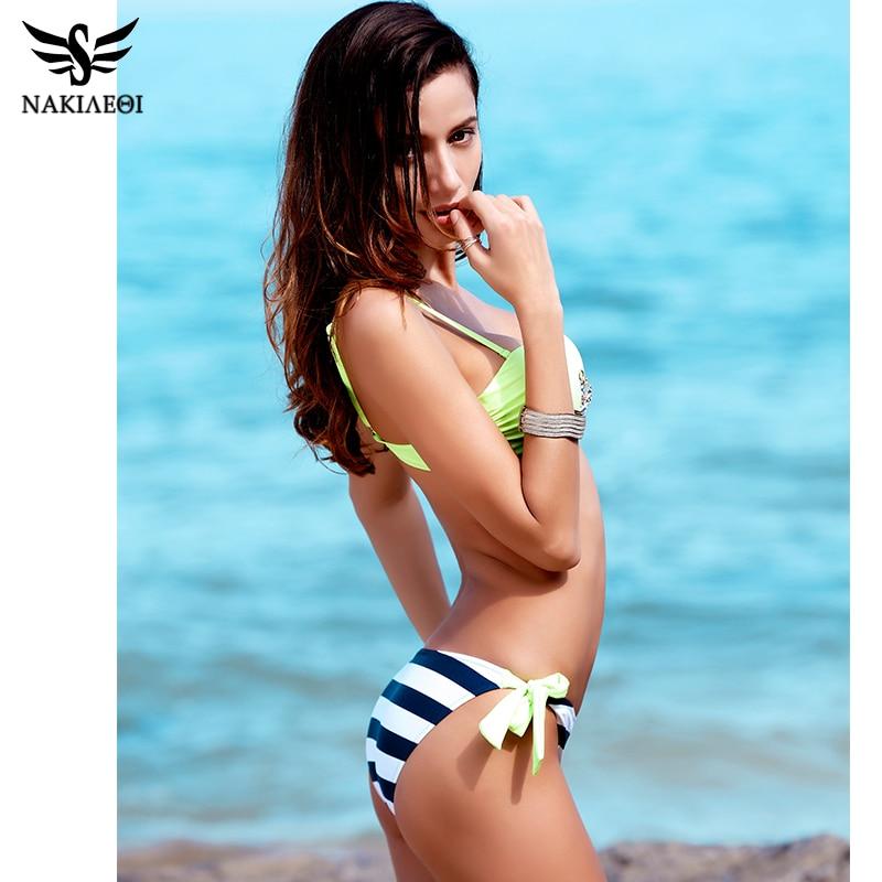 NAKIAEOI 2018 New Sexy Bandeau Brazilian Bikini Women Swimsuit Push Up Swimwear female Bikini Set Plaid Bathing Suit Biquini 2
