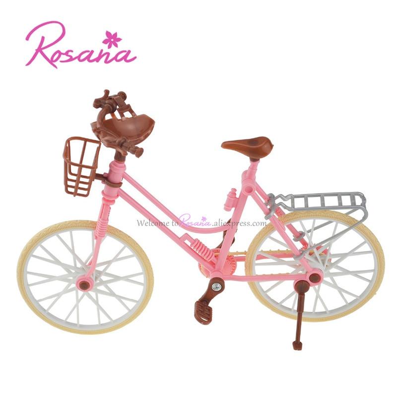 Rosana Fashion Pink Bicicleta Desmontable Bicicleta Rosa con Casco de Plástico Marrón para Muñecas Barbie Jugar Casa Muñeca Accesorios Juguetes