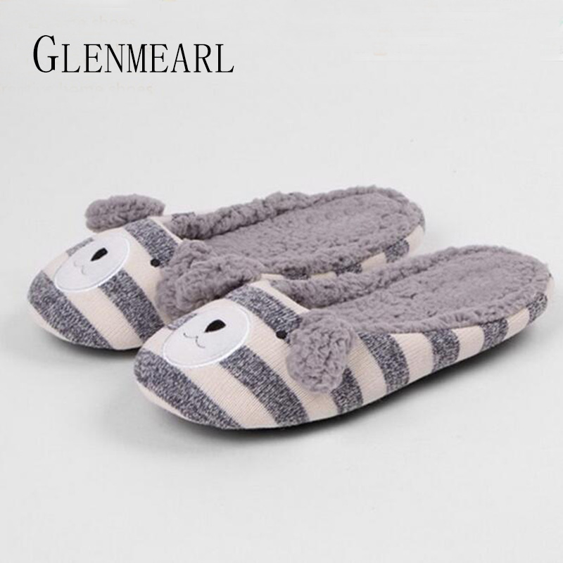 Cute Women Slippers Plush Animal Winter Warm Inddor Slippers Soft Female Home Shoes Non-Slip Flats Fur Slipper Cotton Shoes 30 designer fluffy fur women winter slippers female plush home slides indoor casual shoes chaussure femme