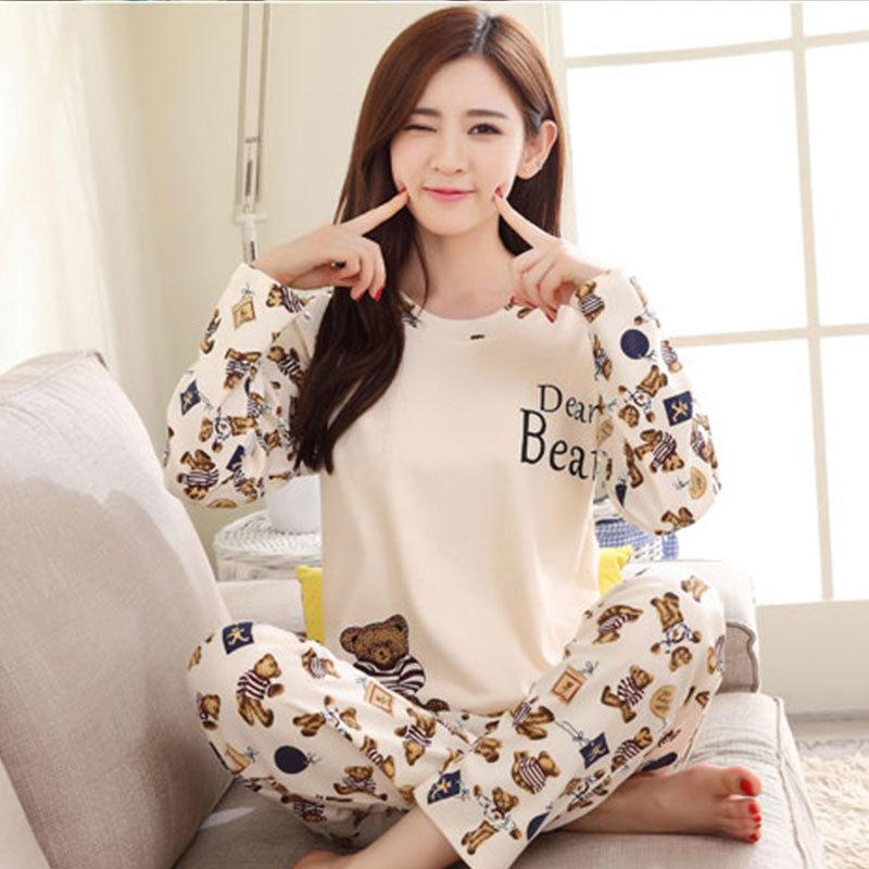 3b7696ae2a New Listing WAVMIT Pajamas For Women Autumn Thin Cotton Long Pajama Sets  Cartoon Leisure Pajamas Casual Cute Girl Sleepwear -in Pajama Sets from  Underwear ...