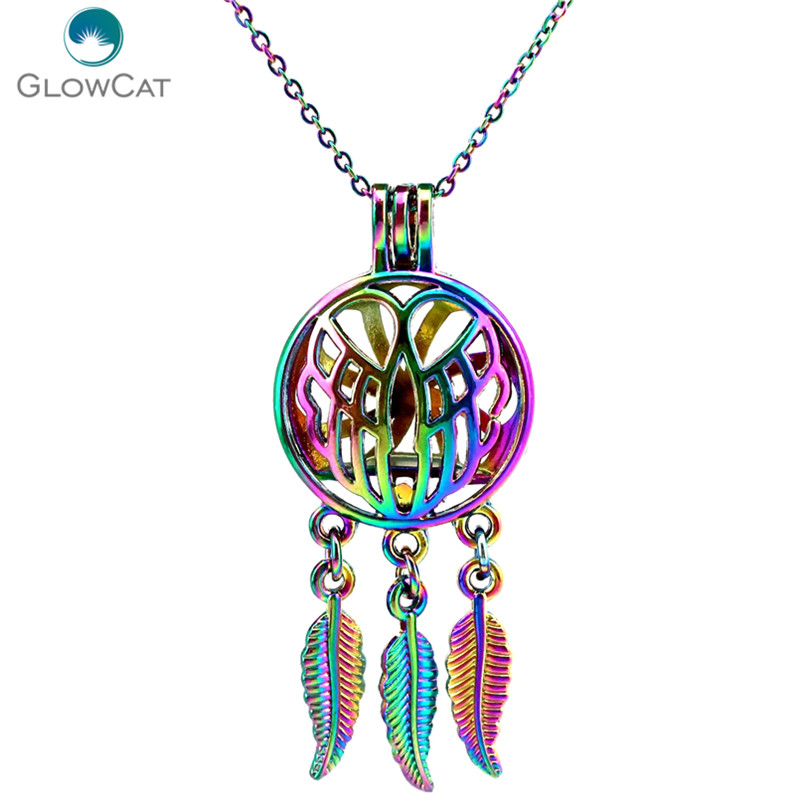 C710 Rainbow Color Beaty Dream Catcher Angel Wings Leaf Cage Pendant Aroma Essential Oil Diffuser Locket Necklace