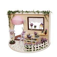 Cute Families Mini Dollhouse Sky Garden Lavender Mono DIY Music Box Toys for Girls Birthday Gifts Juguetes Brinquedos