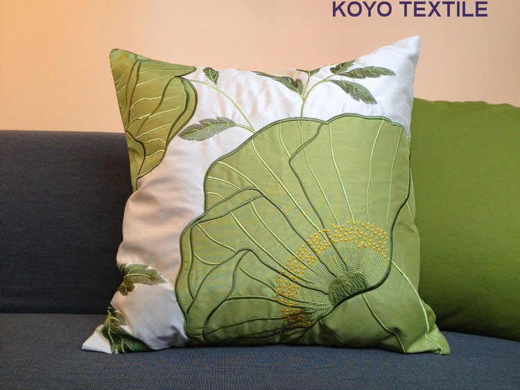 Modern Luxury Decorative Nice Embroidered Applique Leaf Flower Faux Bamboo Silk Sofa Cushion Cover Throw Pillow Cover Case