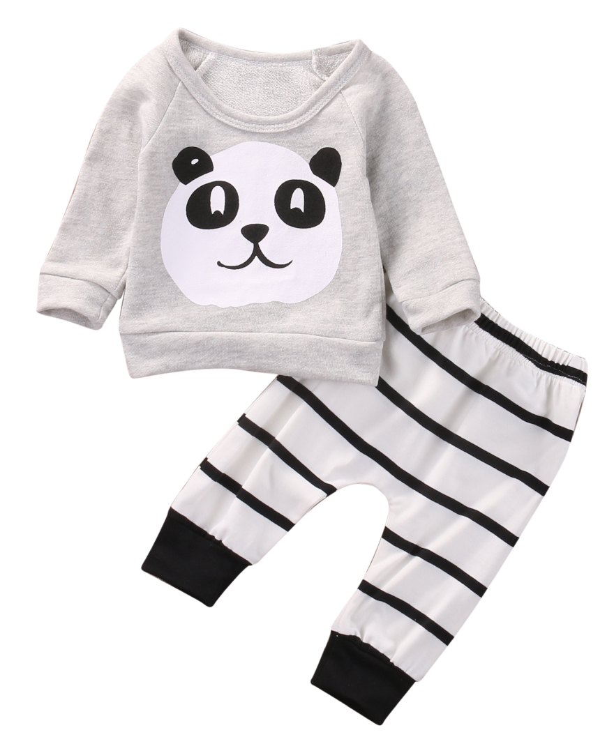 Cute Newborn Kids Baby Boys Girls T-shirt +Pants Infant Clothes Outfits 2pcs Set 2pcs baby girls clothes newborn baby girls cartoon tops shirt pants outfits set cute animals little sheep kids baby clothing