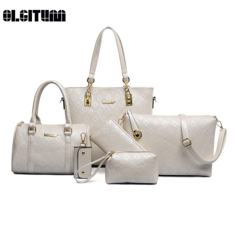 OLGITUM New Small and Big Diamond Lattice 6 sets Women Bags Fashion Women Shoulder Bag+Tote+Lady Handbag+Wallet+Card Bag HB050 fashion sheepskin mini women bag retro small fragrant bag chain diamond lattice small shoulder bags hasp women messenger bags