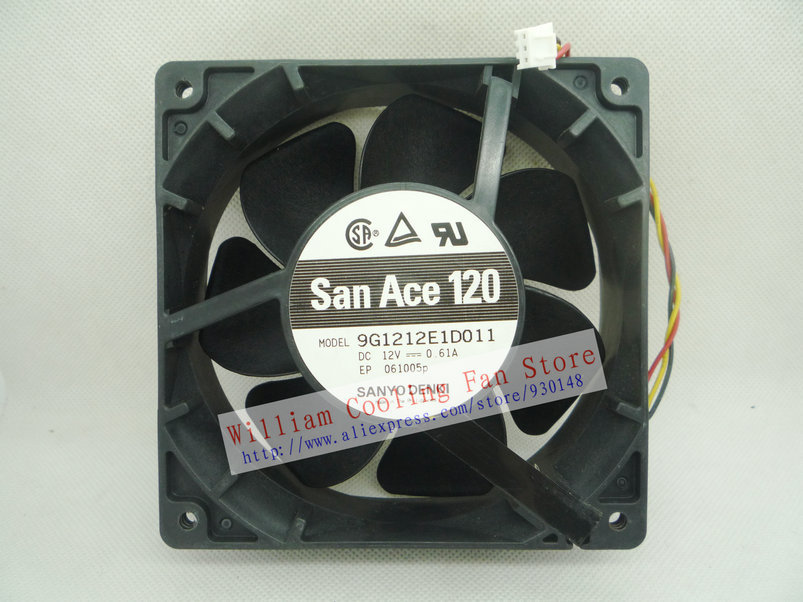 Original Sanyo 9G1212E1D011 12cm 12038 12V 0.61A 3 wires Alarm Signal cooling fan cooling fan replacement d12bm 12d 4 pin connector pwm 12038 12v 2 3a 6000rpm for antminer bitmain s7 s9 useful