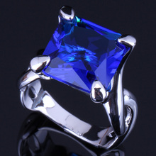 Tantalizing Square Blue Cubic Zirconia 925 Sterling Silver Ring For Women V0069