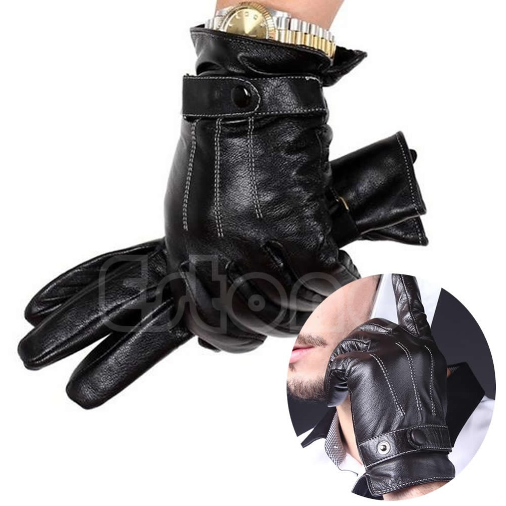 Fake leather driving gloves - 1pair Men 3 Lines Winter Warm Driving Gloves Faux Leather Lined Touch Screen Gloves