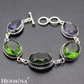 Hermosa iolite peridoto amatista retro encantador de la joyería de moda 925 pulseras de plata de 6.5 pulgadas ajustable hm360