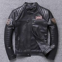 2019 Men's Genuine Leather Black Jackets Large Size Professi