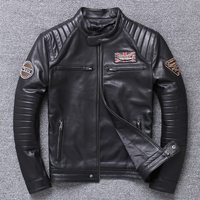 2019 Men's Genuine Leather Black Jackets Large Size Professional Motorcycle Biker Soft Jacket Top Quality Pattern Zipper Coat