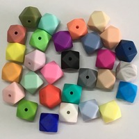 5pcs/lot 14mm Silicone Hexagon Beads BPA Free 100% Food Grade Silicone Loose Beads Non-toxic Baby Chewable Teething Beads