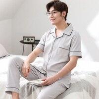 New Sale Summer 100%Cotton Short Top Long Pants Men's Pajamas Set Turn down Collar Big Size L 3XL Male Lounge Nightwear Pyjamas