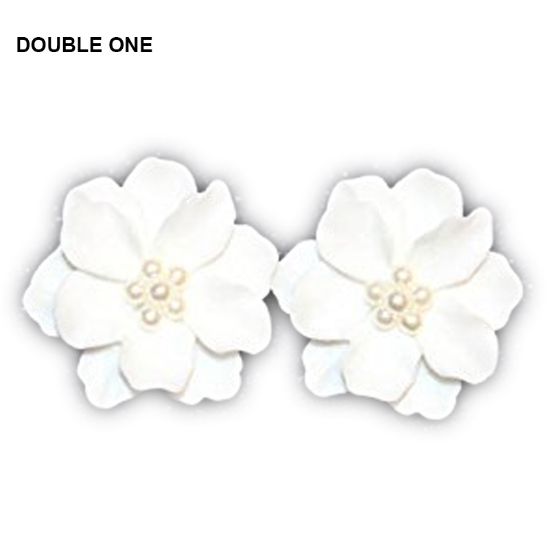 DOUBLE ONE New Fashion Big White Rose Pearl Flower Stud Earrings For Women 2017 Jewelry Elegant Gift 10Pairs/lot