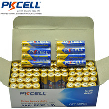120Pcs PKCELL AAA R03P Primary Battery Carbon Zinc Battery 1.5V 45min Equal To UM4 MN2400 LR03 SUM4 LR3 For Camera Radio Toys