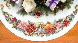 Image 1 - Top Quality Lovely Holiday Theme Counted Cross Stitch Kit Holiday Harmony Tree Skirt Tablecloth Cross Stitch