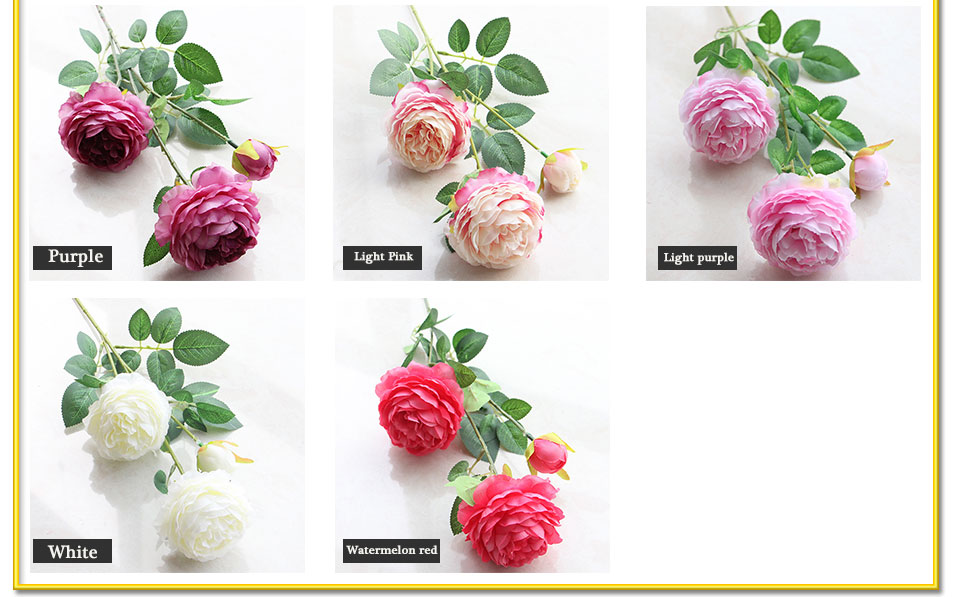 Artificial Flowers 3 Heads White Yellow Peonies Silk Flowers Peony Artificial Flower Wedding Decor for Home Peonies Color_05