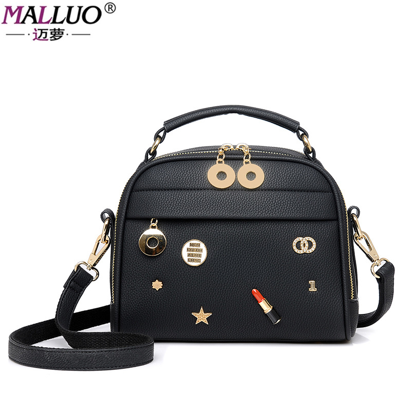 MALLUO Women Bags 2017 New Arrive High Quality PU Leather Women Messenger Bags Fashion Solid Ladies Shoulder Bag With Appliques  new arrive women leather bag fashion zipper handbag high quality medium solid shoulder bag summer women messenger bag