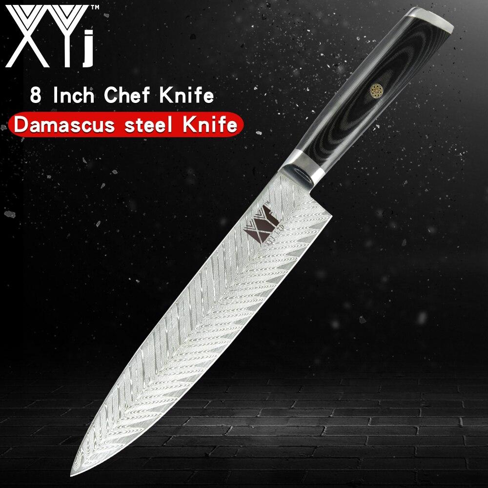 XYj Professional Japan Damascus Kitchen Knife 8 inch Sharp Blade VG10 67Layer Damascus Chef Knive Sushi Sashimi Fish Knife Sale