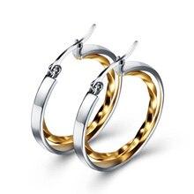 Diameter 28mm Hyperbole Golden Silver Twist Stainless Steel Double Round Drop Earrings Women Shopping Accessories