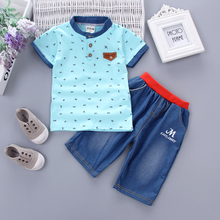 DIIMUU 2PC Baby Little Boy Clothing Party Summer Suits Kids Toddler Boys Clothes T-Shirt + Denim Pants Casual Outfits Sets
