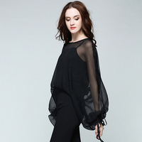 Lantern Sleeves Chiffon Blouse Women O Neck Matching Strap Vets Two Pieces 2 Colors Formal Tops
