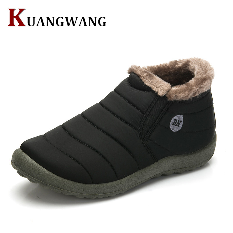 New Fashion Men Winter Shoes Solid Color Snow Boots Plush Inside Antiskid Bottom Keep Warm Waterproof Ski Boots Size 35 - 48 new winter children snow boots boys girls boots warm plush lining kids winter shoes