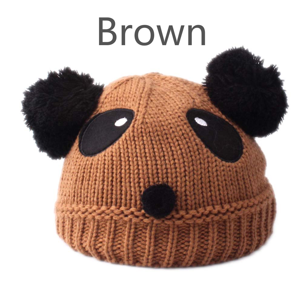 7c6ed4a77 Baby Kids Children Wool Knit Hat Autumn Winter Warm Panda Dual Hairball Cap