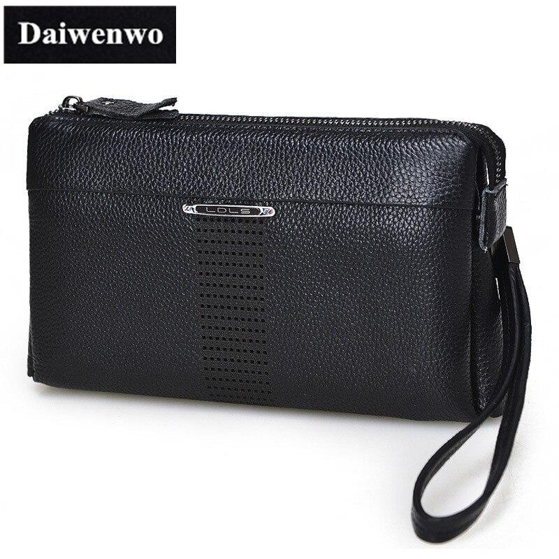 M45 Real Genuine Leather Wallet Brand Men Purse 2016 Clutch Bag Storage Coin Money Passport Cover Male Handbag Phone Bag