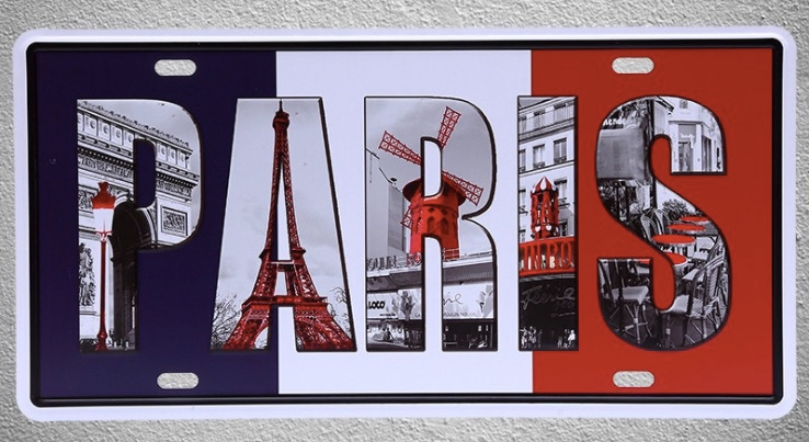 1 pc Paris France french flag Lyon Lille Tin Plates Signs Brussel wall man cave Decoration Metal Art Vintage Poster