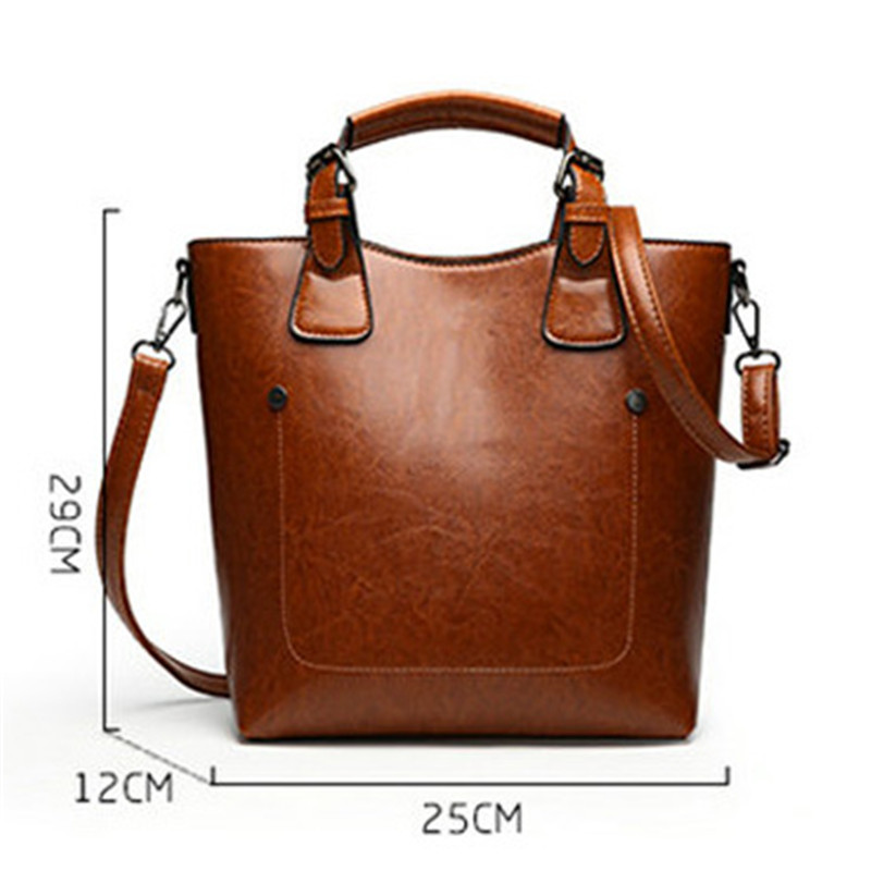 Women Casual Handbags Oil Wax Leather Female Shoulder Bag Designer Ladies Vintage Crossbody Bags Big Tote Sac