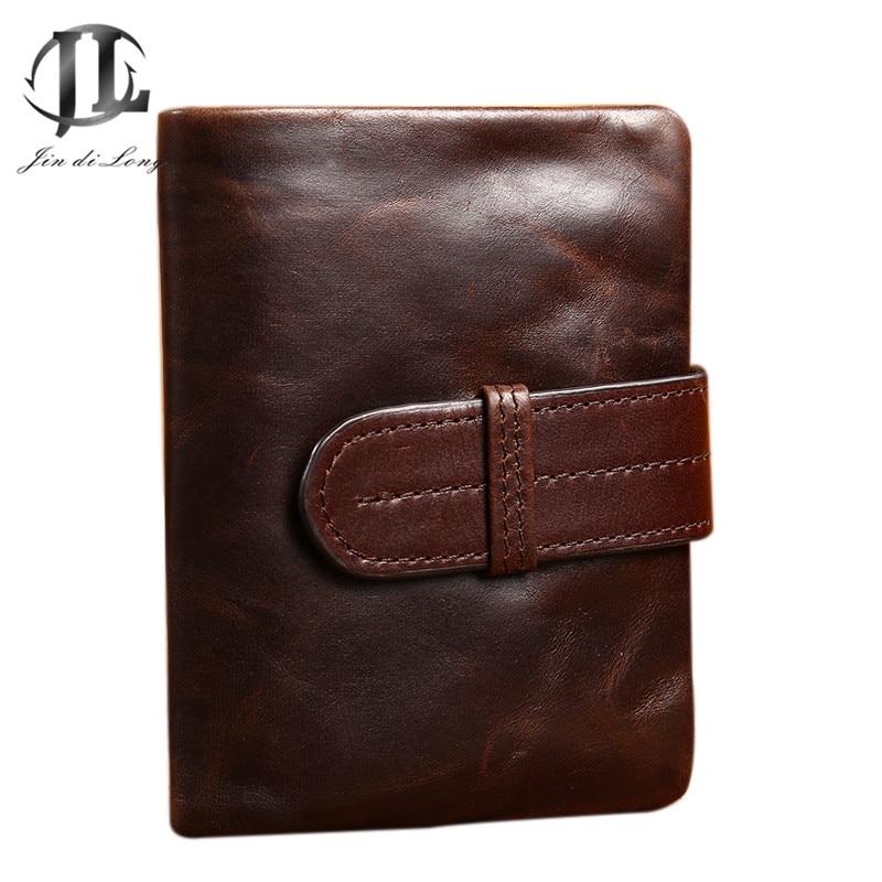 새로운 레트로 지갑 오일 왁스 처리 된 정품 가죽 남성 접이식 머니 지갑 카드 소지자 포토 포켓 지갑 남성용 가방