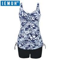 IEMUH Brand New 2018 Plus Size Swimwear Two Pieces Women Swimsuit Print Halter Bathing Suit Padded