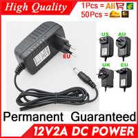 Actualización de calidad 12V2A AC 100 V-240 V Adaptador convertidor DC 2000mA fuente de alimentación LED EU US enchufe 5,5mm x 2,1-2,5mm para el producto de la cámara