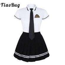 TiaoBug/японская школьная форма для девочек; костюм; белая футболка с короткими рукавами; топ; плиссированная юбка; костюм для костюмированной вечеринки в Корейском стиле для девочек; студенческий костюм