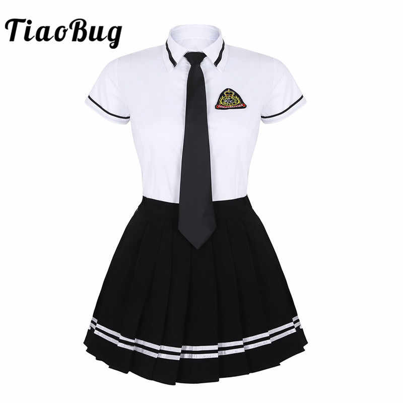 TiaoBug Japanese School Girl Uniform Suit White Short Sleeve T-shirt Top Pleated Skirt Cosplay Korean Girls Student Costume Set