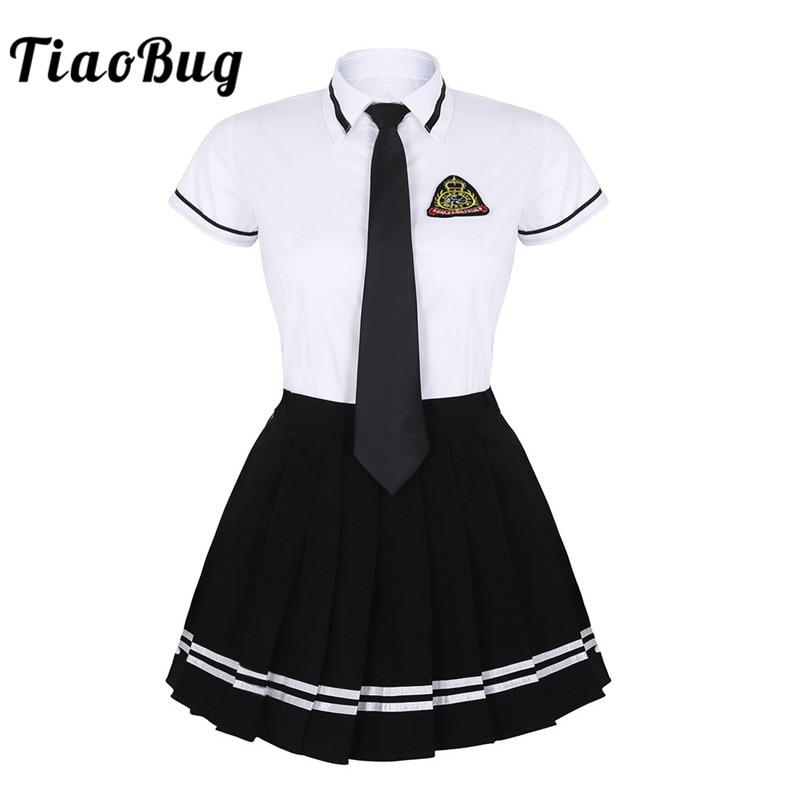 TiaoBug Japanese School Girl Uniform Suit White Short Sleeve T-shirt Top Pleated Skirt Cosplay Korean Girls Student Costume Set