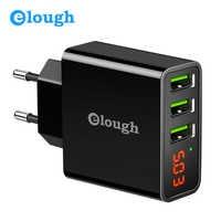 Elough EU chargeur USB pour iPhone Samsung Xiaomi LED affichage 5V 3A 3 Port USB chargeur téléphone portable chargeur USB adaptateur Turbo