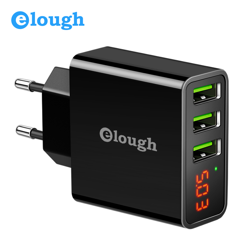 Elough EU USB Charger for iPhone Samsung Xiaomi LED Display 5V 3A 3 USB Port Charger Mobile Phone Charging USB Adapter Turbo samsung