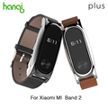 New Version Original Mijobs Leather Strap For Xiaomi Mi Band 2 Metal Leather Screwless Wristbands Replace Bracelet For MiBand 2
